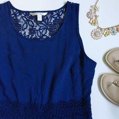 "Lauren Conrad Navy Dress Like new Lauren Conrad navy dress with crochet detail at back, waist and bottom. Side zipper. Length 36.5"" Bust 40"" Waist 34"" 100% rayon excluding lace LC Lauren Conrad Dresses"