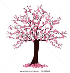 Cherry Blossom Tree Drawing Clipart