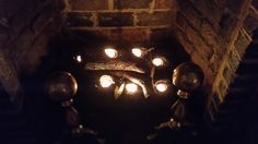 Tom and I made these romantic fireplace candle logs together--my idea--his help!
