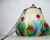 Felted Purse pouch clutch POPPY