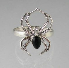 Sterling Silver Black Widow Spider Ring Onyx Size 5 12 | eBay