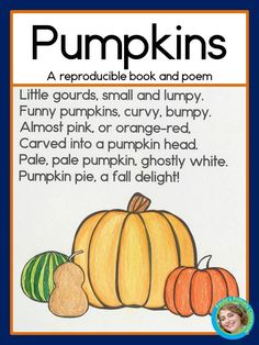 Do you teach a pumpkin unit in the fall? Your kindergarten and first grade students will enjoy reading sight words and color words in this adorable original poem (with a surprise ending.) It comes as a mini book, a class book your students can illustrate, and as a poetry folder page. Super easy to prepare, and not Halloween specific! TpT $