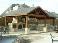 rustic outdoor kitchen ideas | Rustic Outdoor Kitchen Designs with Outdoor Pool