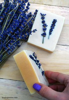 Honey & Lavender Soap Recipe + Instructions. Honey makes the color of this soap a light golden brown and its sweet scent mixes beautifully with lavender essential oil #soapmaking #lavender #soaprecipe #coldprocesssoap