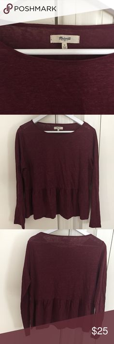 SALE🌸Madewell Modern Linen Flare-Hem Peplum Tee M In Like New condition. Rust color. Retails for $68. Long sleeved and lightweight. Perfect for spring/summer! Please note pic 5: fabric content tag is cut off. Madewell Tops Tees - Long Sleeve