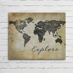 WORLD MAP Wall ART-Explore- Canvas or Graphic Print