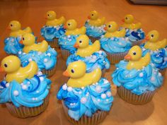 Rubber Duck Baby Shower Cupcakes - Rubber Duck Baby Shower Cupcakes - Ducks molded from chocolate.. I think I might do something like this without the ducks :) @Sarabeth Brinson