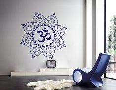 Mandala Wall Decals Indian Pattern Yoga Oum Om Sign Decal Vinyl Sticker  Home Decor Art Murals Bedroom Studio Window Ah193 Mural Wall Art, Wall Art Decor, Wall Stickers, Decals, Om Sign, Yoga Studio Decor, Studio Furniture, Indian Patterns, Mandala