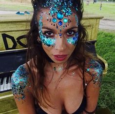 Blue festival face and body glitter
