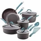 Cucina 12-Piece Gray and Blue Cookware Set with Lids, Gray With Blue Handle