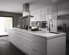 A white kitchen will give this peculiar feeling freshness and cleanliness to your home. Combine this with modern interior design and you'll be sure to have guests admiring your kitchen! Grey Gloss Kitchen, Gloss Kitchen Cabinets, Gray And White Kitchen, Kitchen Appliances, Grey Kitchens, Cool Kitchens, Fitted Kitchens, Modern Kitchens, Kitchen Modern