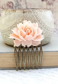 Rose Comb Pale Pink Rose Romantic Metal Hair by apocketofposies