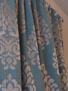 damask teal curtains
