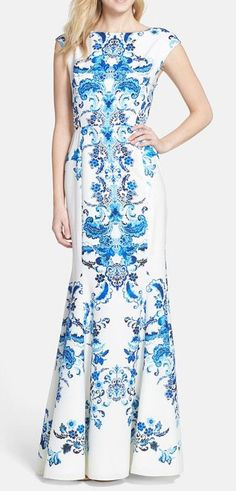 Print Crêpe de Chine Mermaid Gown You know how sometimes you just look at something and automatically like it this dress does this to me meaning it must be good