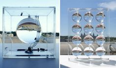 Spherical glass solar-energy-generator.  Its geometrical structure should improve energy efficiency by 35% and can also harvest energy from Moonlight!! Awesomeness!!