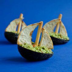 idées repas santé et amusant: guacamole et voiles-crackers
