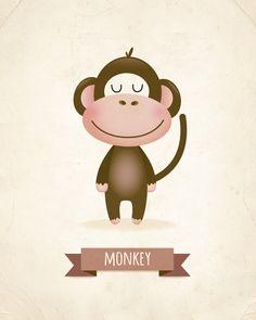 Nursery wall decor monkey nursery art boys by IreneGoughPrints - Live Wallpapers Nursery Wall Decor, Nursery Prints, Nursery Art, Wall Prints, Decoration Creche, Monkey Illustration, Monkey Nursery, Baby Art, Animal Wallpaper