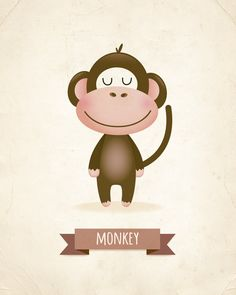 Nursery wall decor, monkey nursery art, boys nursery, baby boys print, nursery…