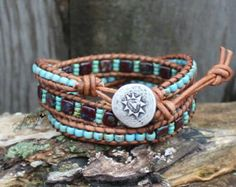Seed Bead Leather Wrap Bracelet Four Wrap by hodgepodgecandles