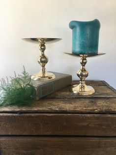 vintage brass large pillar candle holders pair of 2 shiny