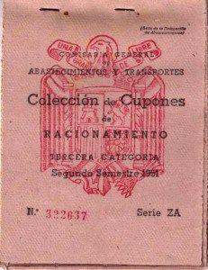 Cartilla de racionamiento en 1951