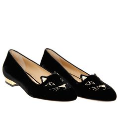 Charlotte Olympia Black Velvet 'Kitty' Slipper Flats (9,860 MXN) ❤ liked on Polyvore featuring shoes, flats, sapatos, black, black velvet shoes, black flats, charlotte olympia shoes, leather sole shoes and kohl shoes