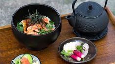 Salmon and rice with green tea and pickled vegetables (salmon ochazuke with asazuke) recipe : SBS Food