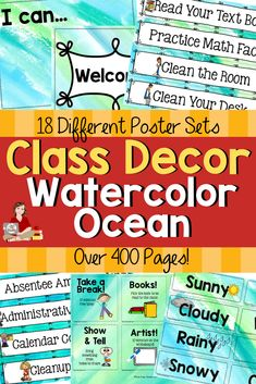 Looking for a way for easy classroom setup? This watercolor ocean themed classroom decoration bundle will help you will set up your class in no time! There are 18 different classroom poster sets including birthdays, calendars, rewards, helpers, objectives and many more! There is an editable class decor file with I Can statements, classroom signs, and name plates. So many options to choose from! Over 400 pages of ocean decor for your classroom setup! #classdecorations #clssdecorthemes Classroom Helpers, Classroom Signs, Classroom Posters, Classroom Setup, Classroom Activities, Spring Activities, Classroom Organization, Teacher Blogs, Teacher Resources