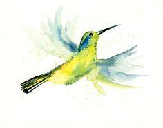 HUMMINGBIRD by DIMDI Original watercolour painting by dimdi, $25.00