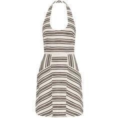 A.L.C. Hudson Halter Stripe Dress (23,105 INR) ❤ liked on Polyvore featuring dresses, white dress, white halter top, short halter dress, white cotton dress and white sheath dress