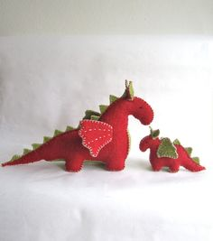Dragons mama and baby toy set organic red dragon green by pingvini, $75.00