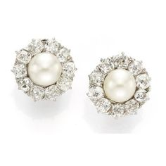 (19) A Pair of Natural Salt Water Pearl and Diamond Ear Clips. ❤ liked on Polyvore featuring jewelry, earrings, fresh water pearl earrings, freshwater pearl earrings, diamond jewellery, freshwater cultured pearl earrings and earrings jewelry