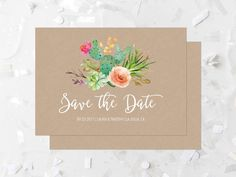 Succulent Save The Date Printable Cactus Save The Date Kraft Save The Date Southwestern Wedding Save The Date Coral Flowers Pink Floral 240 by MossAndTwigPrints on Etsy