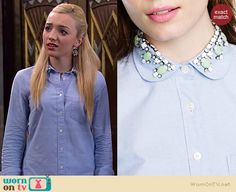 Emma's blue shirt with jewel embellished collar on Jessie.  Outfit Details: http://wornontv.net/37306/ #Jessie