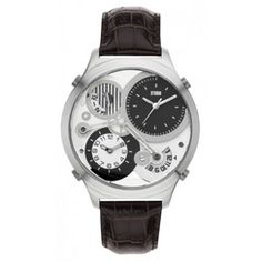 STORM London Silver Watch with 4 Time Zones, Leather Strap and WR 50m