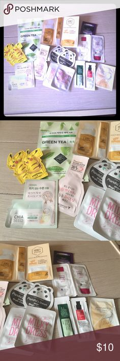 15 piece Korean Sample Set, including Face Mask! 15 piece Korean Sample set, including etude house Green Tea Mask!  Brands include, Skin food, Tony Moly, Etude House, Cos RX, the Face Shop and Etc.  Some samples include 3 pieces (which I only labeled as one sample !).    Everything is brand new. BUNDLE for discount ! Tony Moly Makeup