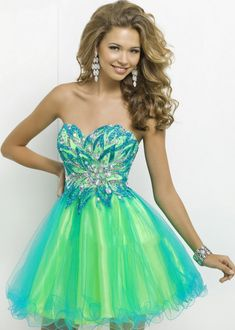 2015 Strapless Two Tone Beaded Turquoise Lime Homecoming Dress [Bl ...