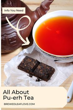 What is pu-erh tea?  Is it stronger than regular tea?  Find all about this fermented tea that's usually sold in little tea cakes.  Pu erh tea guide. Tea Cakes, Mini Cakes, Fermented Tea, Pu Erh Tea, Tea Packaging, Tea Benefits, Brewing Tea, How To Make Tea, Tea Recipes