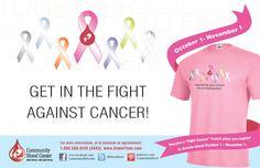 """The """"Together We Unite to Fight Cancer"""" ribbon t-shirt begins today! Get yours when you register to #giveblood at any CBC location."""