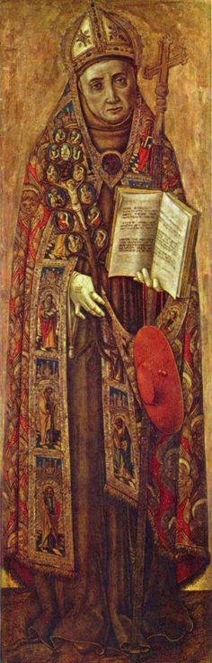 Vittorio Crivelli.  Hl. Bonaventura. Um 1500, Tempera auf Holz, 125,5 × 40 cm. Amsterdam, Rijksmuseum. Italien. Renaissance.  KO 02774