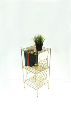 Mid Century Gold Wire Stand by cheerfulowl on Etsy, $45.00