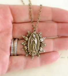 Necklace Lady of Guadalupe  Mother Mary by chloesvintagejewelry