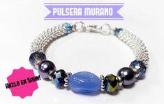 Como hacer una Pulsera con Muranos, cristales y Perlas super facil : Pek...