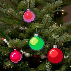 8 Bit Pixel Art Christmas Baubles Set of 4 by adamcrockett on Etsy, $20.00