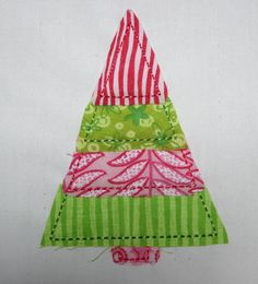 Raggy Christmas Tree Applique Machine Embroidery by SewChaCha, $3.00