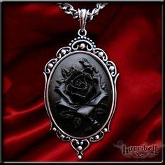 Gothic Black Rose Cameo Necklace. $16.00, via Etsy.
