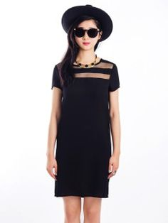 Shop Black Chiffon Shift Dress With Mesh Panel from choies.com .Free shipping Worldwide.$19.9