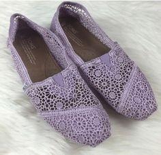Women's TOMS Lilac Purple Crochet Flats Shoes Size 9 #TOMS #Flats