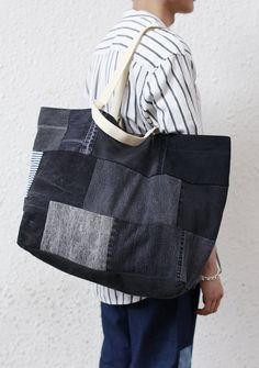Black Denim Tote Bag by FirstEditionDesign on Etsy
