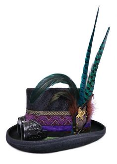 Burner top hat | Psychedelic top hat | Steampunk hat with feathers. Designed Uniquely By Futura-Hats. www.futurahats.com #futurahats #futurahat
